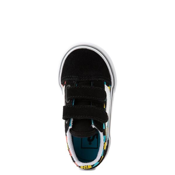 alternate view Vans Old Skool V Checkerboard Glow Skate Shoe - Baby / Toddler - Black / Neon MulticolorALT4B