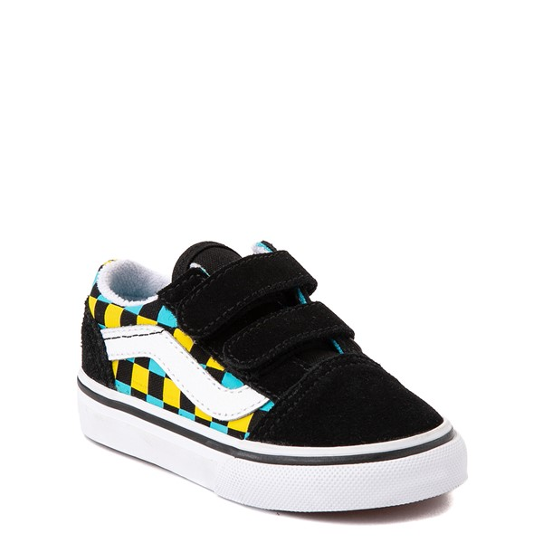 alternate view Vans Old Skool V Checkerboard Glow Skate Shoe - Baby / Toddler - Black / Neon MulticolorALT5