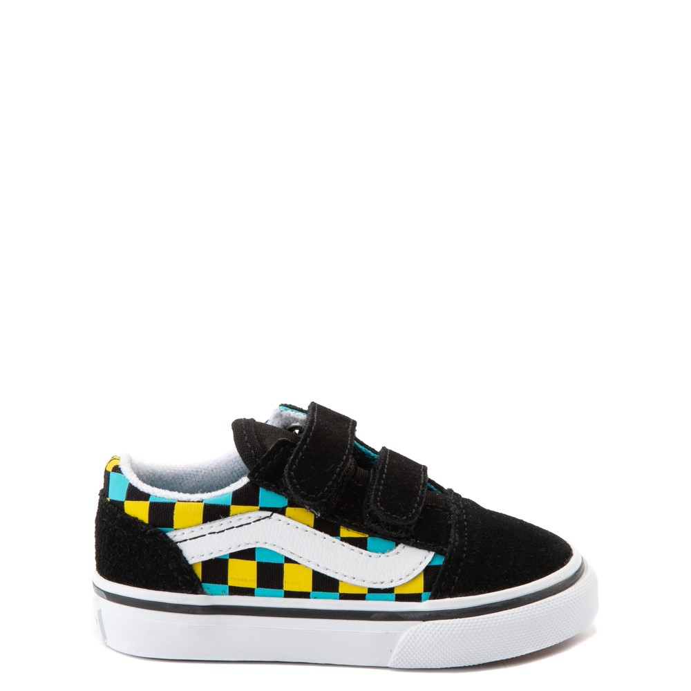 Vans Old Skool V Checkerboard Glow Skate Shoe - Baby / Toddler - Black / Neon Multicolor