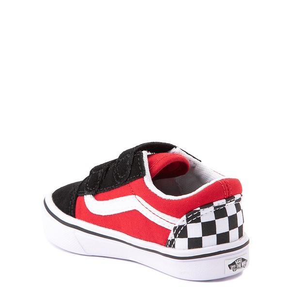 alternate view Vans Old Skool V ComfyCush® Checkerboard Skate Shoe - Baby / Toddler - Red / Black / WhiteALT1