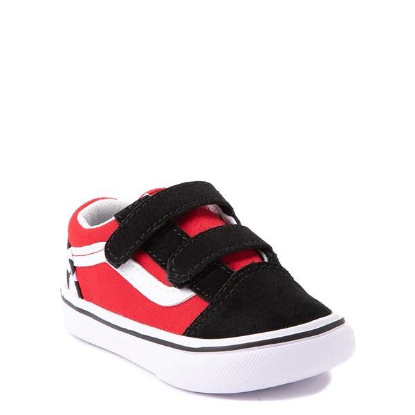 alternate view Vans Old Skool V ComfyCush® Checkerboard Skate Shoe - Baby / Toddler - Red / Black / WhiteALT5