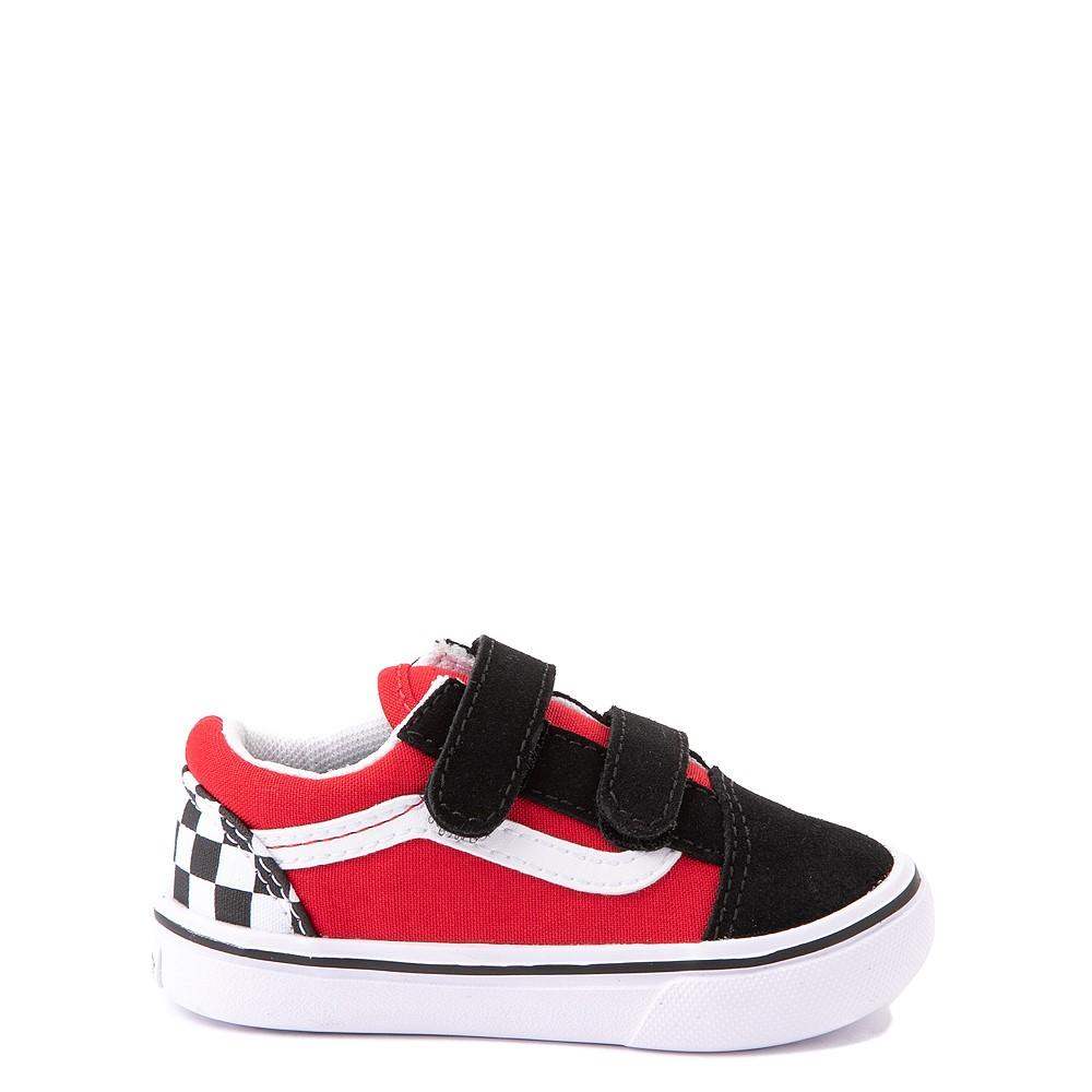 Vans Old Skool V ComfyCush® Checkerboard Skate Shoe - Baby / Toddler - Red / Black / White
