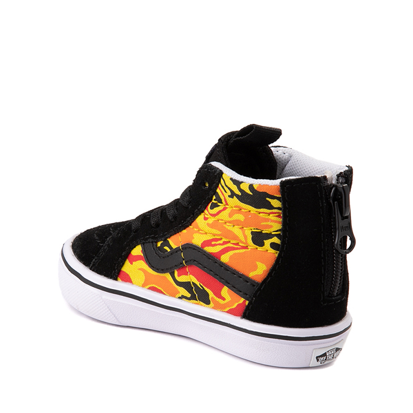 alternate view Vans Sk8 Hi Zip ComfyCush® Skate Shoe - Baby / Toddler - Black / Flame CamoALT1