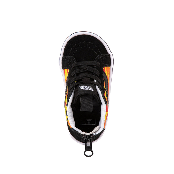 alternate view Vans Sk8 Hi Zip ComfyCush® Skate Shoe - Baby / Toddler - Black / Flame CamoALT2