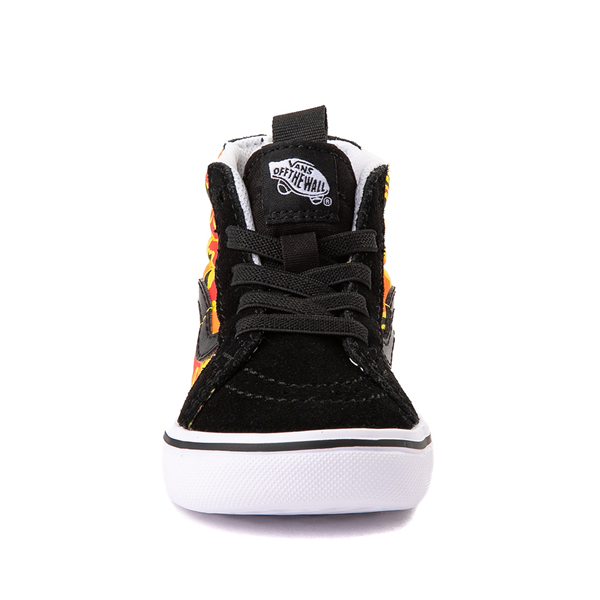 alternate view Vans Sk8 Hi Zip ComfyCush® Skate Shoe - Baby / Toddler - Black / Flame CamoALT4