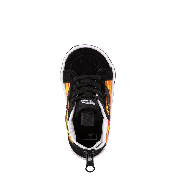 alternate view Vans Sk8 Hi Zip ComfyCush® Skate Shoe - Baby / Toddler - Black / Flame CamoALT4B
