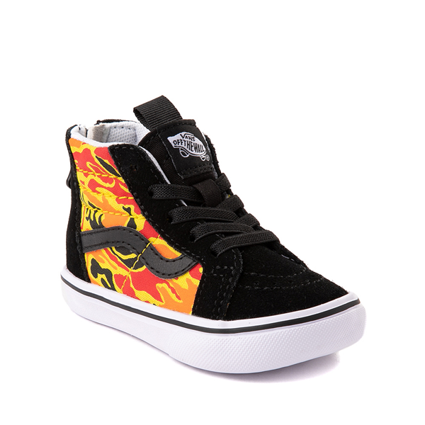 alternate view Vans Sk8 Hi Zip ComfyCush® Skate Shoe - Baby / Toddler - Black / Flame CamoALT5