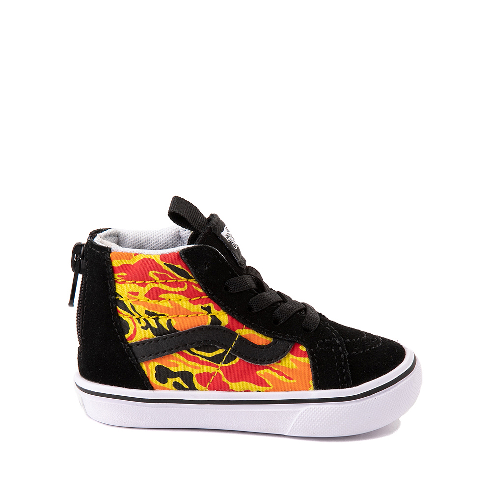 Vans Sk8 Hi Zip ComfyCush® Skate Shoe - Baby / Toddler - Black / Flame Camo
