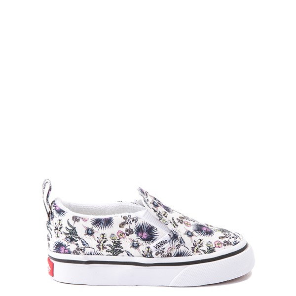 Main view of Vans Slip On V Skate Shoe - Baby / Toddler - White / Paradise Floral