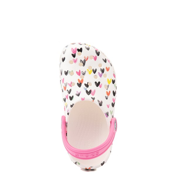 alternate view Crocs Classic Heart Print Clog - Baby / Toddler / Little Kid - WhiteALT2