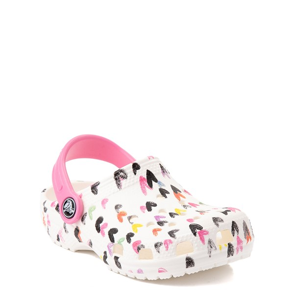 alternate view Crocs Classic Heart Print Clog - Baby / Toddler / Little Kid - WhiteALT5