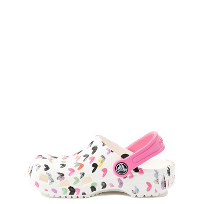 Alternate view of Crocs Classic Heart Print Clog - Baby / Toddler / Little Kid - White