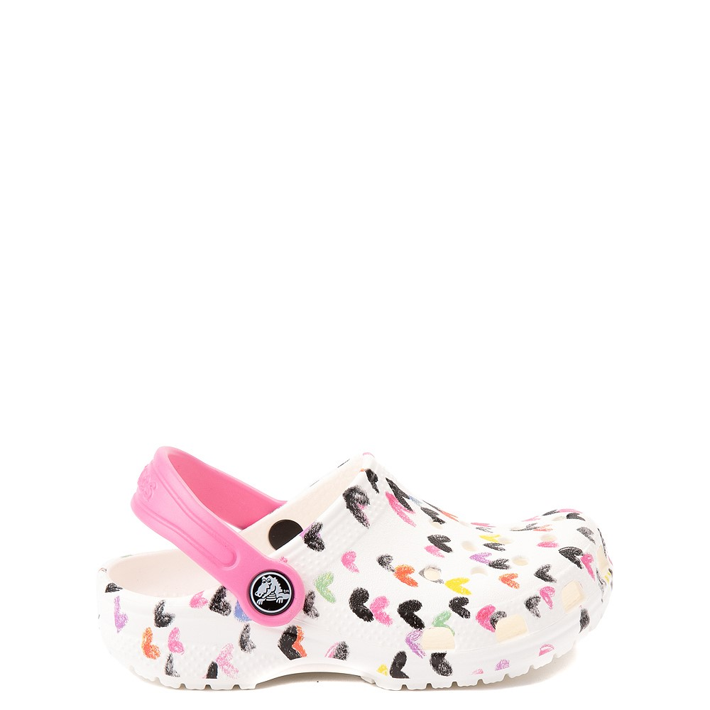 Crocs Classic Heart Print Clog - Baby / Toddler / Little Kid - White