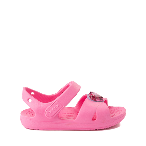 Main view of Crocs Classic Cross-Strap Charm Sandal - Baby / Toddler / Little Kid - Pink Lemonade