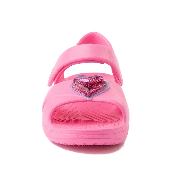 alternate view Crocs Classic Cross-Strap Charm Sandal - Baby / Toddler / Little Kid - Pink LemonadeALT4