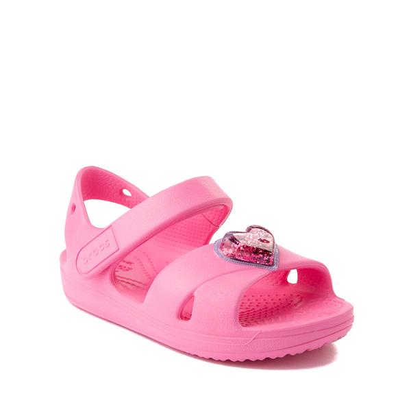 alternate view Crocs Classic Cross-Strap Charm Sandal - Baby / Toddler / Little Kid - Pink LemonadeALT5