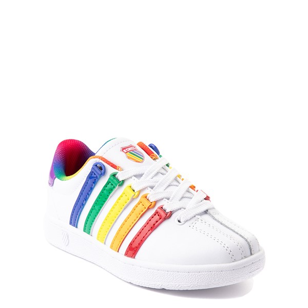 alternate view K-Swiss Classic VN Athletic Shoe - Little Kid - White / RainbowALT5