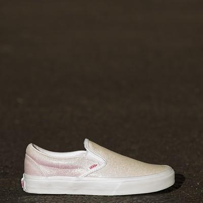 Alternate view of Vans Slip On Skate Shoe - White / UV Glitter