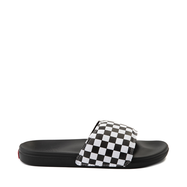 Main view of Vans La Costa Slide On Checkerboard Sandal - Black / White