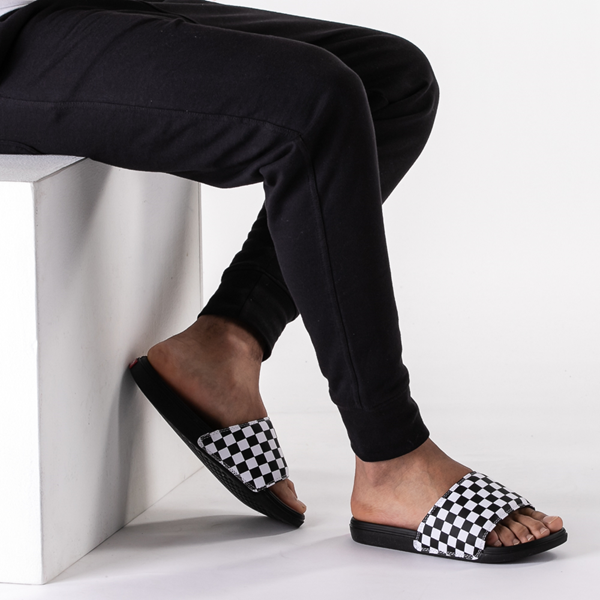 alternate view Vans La Costa Slide On Checkerboard Sandal - Black / WhiteB-LIFESTYLE1