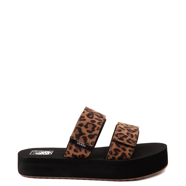 Main view of Womens Vans Cayucas Mega Platform Slide Sandal - Black / Leopard