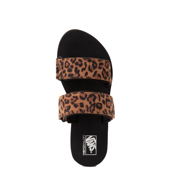 alternate view Womens Vans Cayucas Mega Platform Slide Sandal - Black / LeopardALT4B