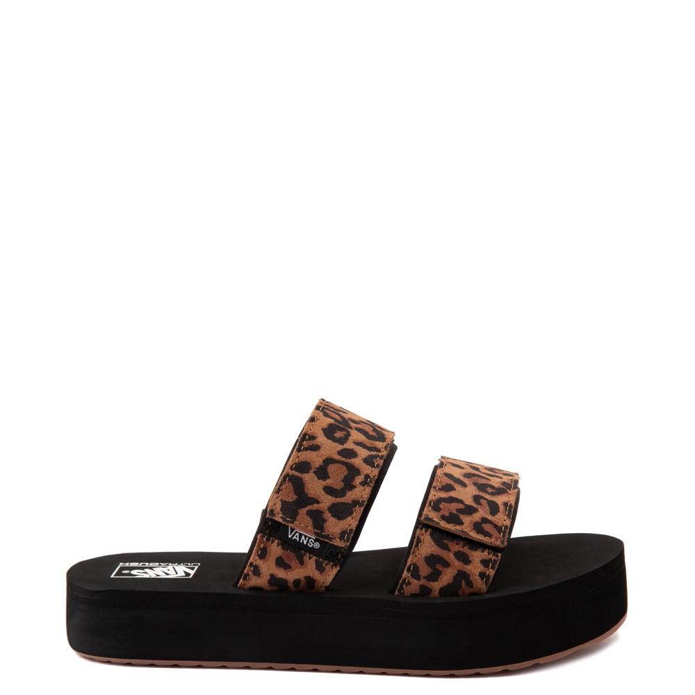 Womens Vans Cayucas Mega Platform Slide Sandal - Black / Leopard