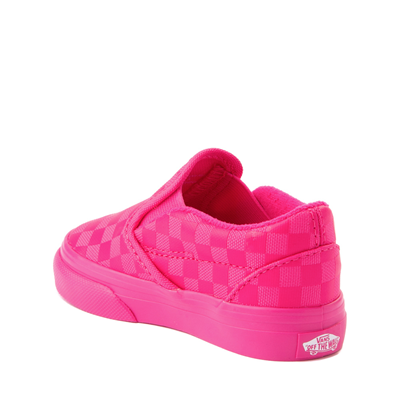 Alternate view of Vans Slip On Tonal Checkerboard Skate Shoe - Baby / Toddler - Pink Glow