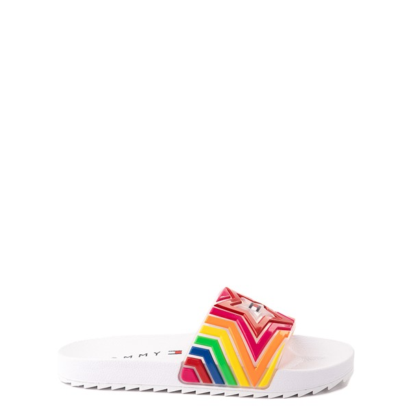 Main view of Tommy Hilfiger Shore Dweller Slide Sandal - Little Kid / Big Kid - White / Rainbow