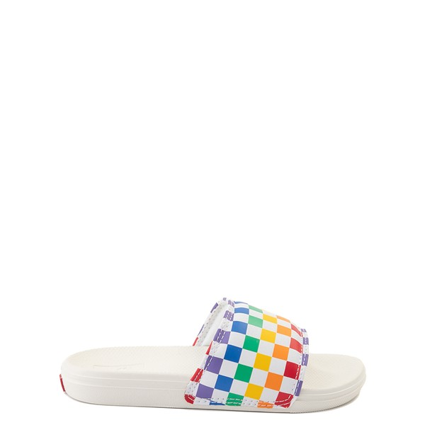Main view of Vans Slide On Checkerboard Sandal - Little Kid / Big Kid - White / Multicolor