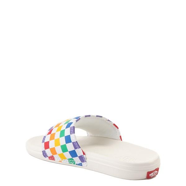alternate view Vans Slide On Checkerboard Sandal - Little Kid / Big Kid - White / MulticolorALT2