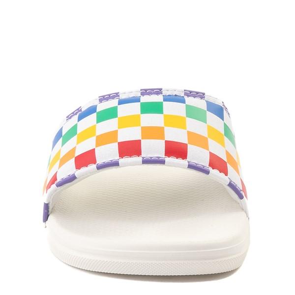 alternate view Vans Slide On Checkerboard Sandal - Little Kid / Big Kid - White / MulticolorALT4