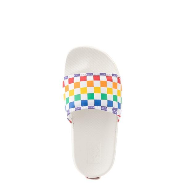 alternate view Vans Slide On Checkerboard Sandal - Little Kid / Big Kid - White / MulticolorALT4B