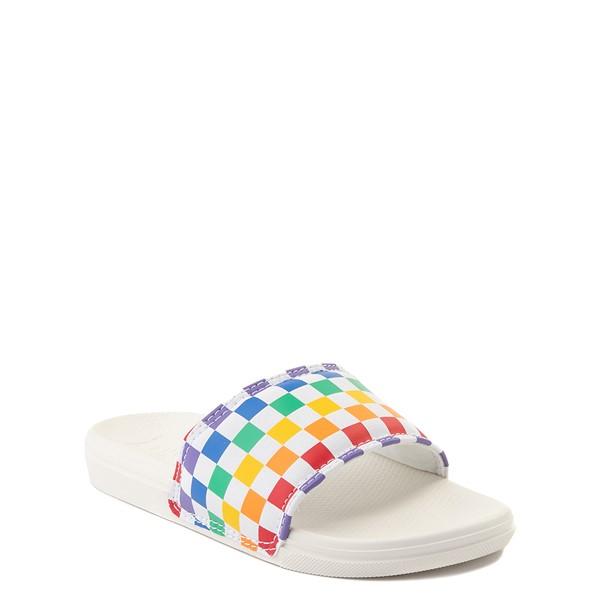 alternate view Vans Slide On Checkerboard Sandal - Little Kid / Big Kid - White / MulticolorALT5