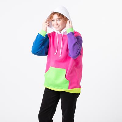 Alternate view of Womens Neon Color-Block Hoodie - Multicolor