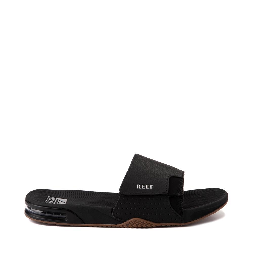 Mens Reef Fanning Slide Sandal - Black / Silver