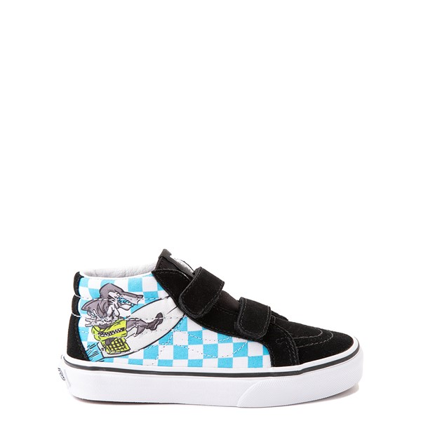 Main view of Vans Sk8 Mid Reissue V Xtreme Sharks Checkerboard Skate Shoe - Little Kid - Black