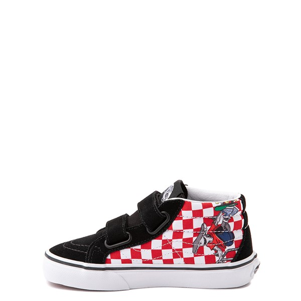 alternate view Vans Sk8 Mid Reissue V Xtreme Sharks Checkerboard Skate Shoe - Little Kid - BlackALT1