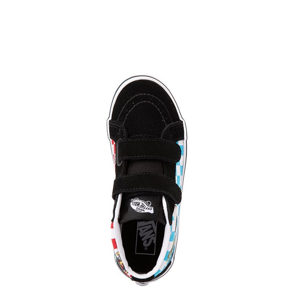 alternate view Vans Sk8 Mid Reissue V Xtreme Sharks Checkerboard Skate Shoe - Little Kid - BlackALT2