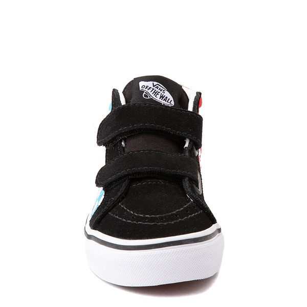 alternate view Vans Sk8 Mid Reissue V Xtreme Sharks Checkerboard Skate Shoe - Little Kid - BlackALT4