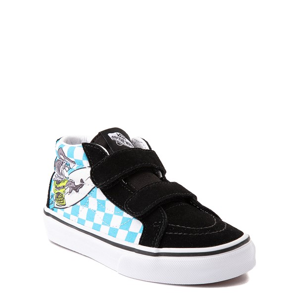 alternate view Vans Sk8 Mid Reissue V Xtreme Sharks Checkerboard Skate Shoe - Little Kid - BlackALT5