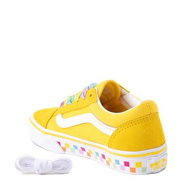 Alternate view of Vans Old Skool Skate Shoe - Little Kid - Cyber Yellow / Rainbow
