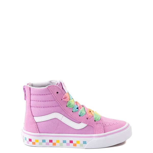 Main view of Vans Sk8 Hi Zip Skate Shoe - Little Kid - Orchid / Rainbow