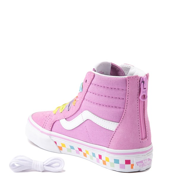 alternate view Vans Sk8 Hi Zip Skate Shoe - Little Kid - Orchid / RainbowALT1