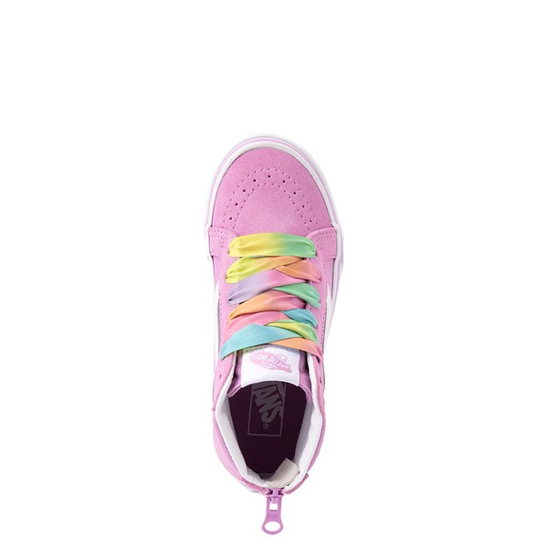 alternate view Vans Sk8 Hi Zip Skate Shoe - Little Kid - Orchid / RainbowALT2