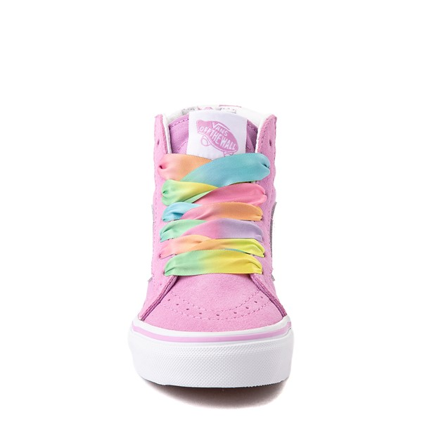 alternate view Vans Sk8 Hi Zip Skate Shoe - Little Kid - Orchid / RainbowALT4
