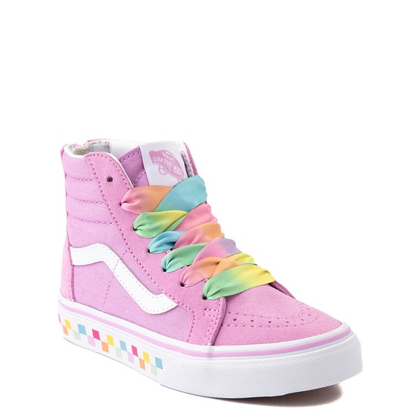 alternate view Vans Sk8 Hi Zip Skate Shoe - Little Kid - Orchid / RainbowALT5