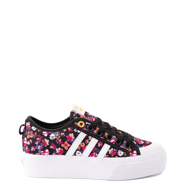 Main view of Womens adidas Nizza Platform Athletic Shoe - Black / Floral