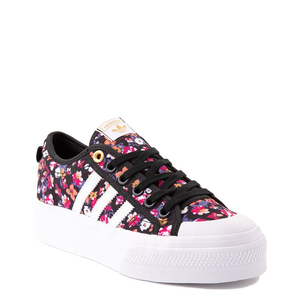 alternate view Womens adidas Nizza Platform Athletic Shoe - Black / FloralALT5