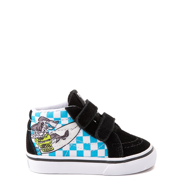 Main view of Vans Sk8 Mid Reissue V Xtreme Sharks Checkerboard Skate Shoe - Baby / Toddler - Black